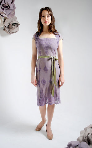 Edie dress in purple smoke embroidered lace