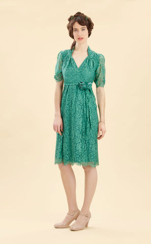 Eliza dress in Shanghai green lace - studio shot