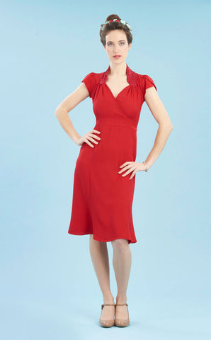 Eliza dress in ruby crepe