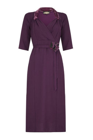 Jasmine Dress in Currant Crepe