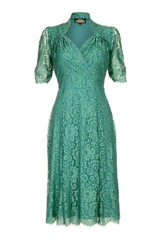 Eliza dress in Shanghai green lace - mannequin front