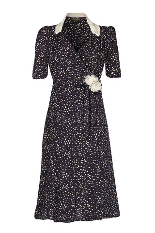 Nancy Mac vintage style moss crepe Eliza dress in black heart print - mannequin front
