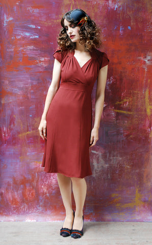 Eliza dress in russet moss crepe