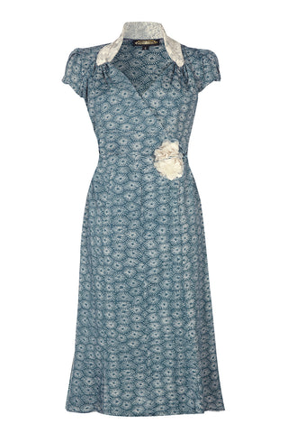 Nancy Mac Eliza crossover sweetheart neckline dress in print moss crepe - mannequin