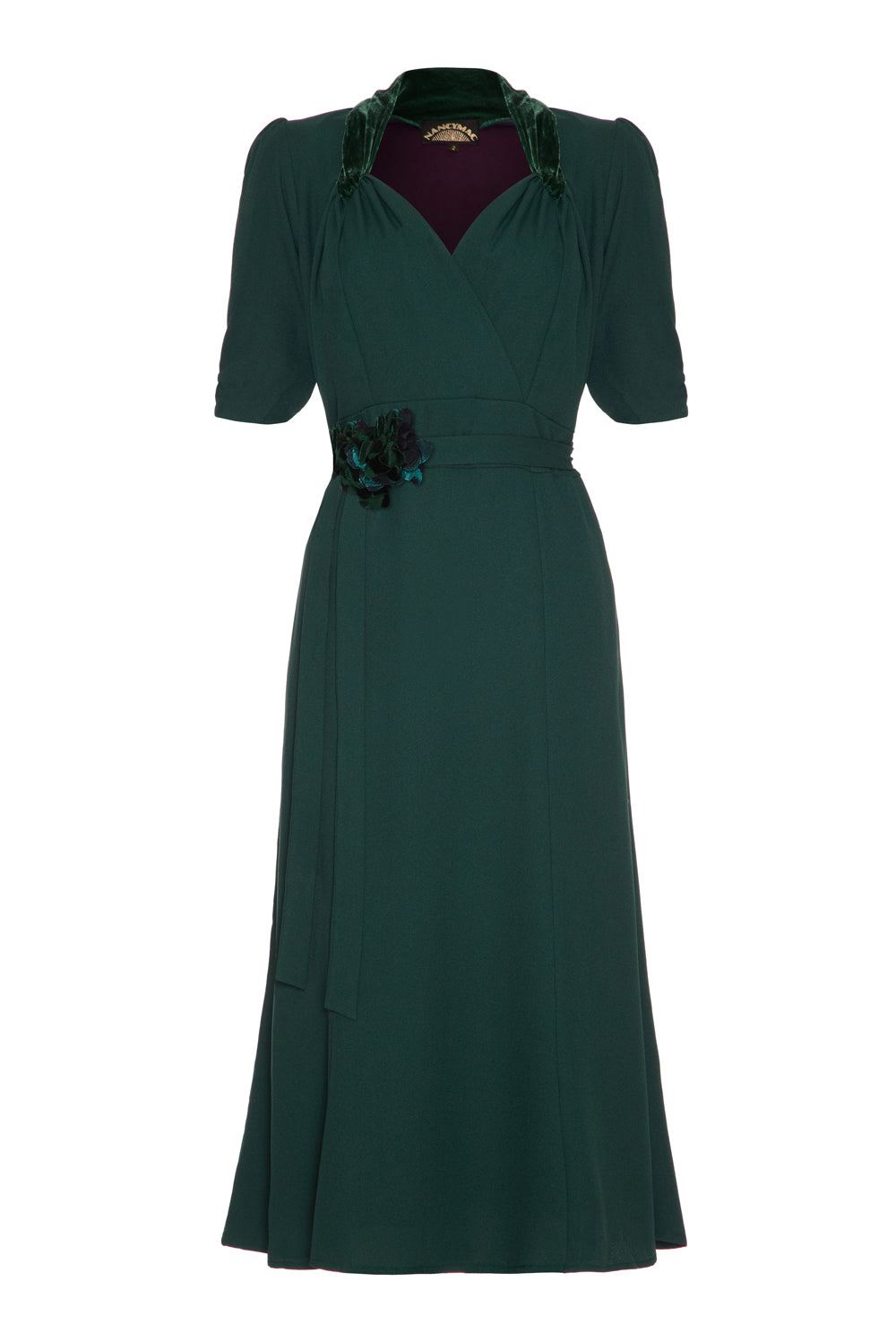 Eliza Dress in Emerald Crepe