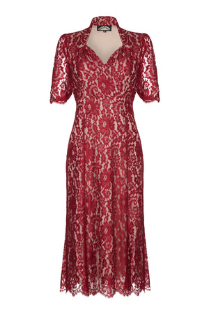 Eliza Dress in Ruby Flower Lace
