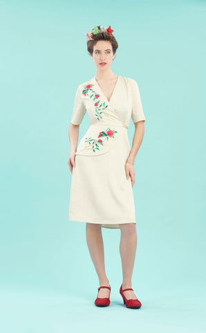 Embroidered Suki dress in ivory crepe - studio shot