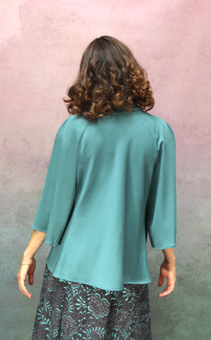 Estelle jacket in Venice blue crepe - back model shot