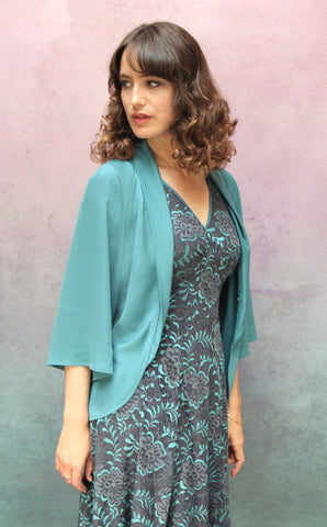 Estelle jacket in Venice blue crepe - side model shot