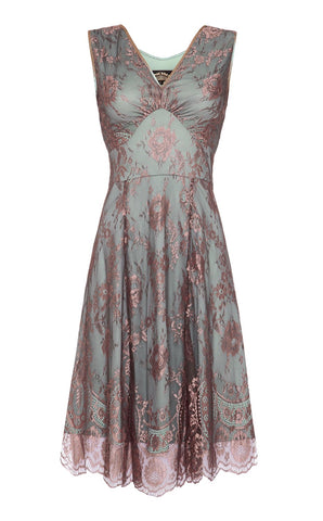 Kristen dress in moth and pink lace