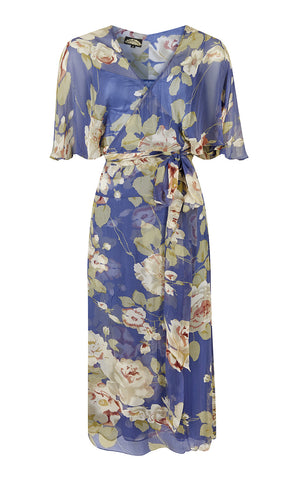 Bohemian Summer wrap dress in pure silk georgette bluebell floral