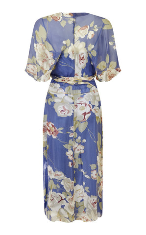 Florrie dress in bluebell rose garden print silk georgette