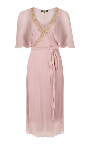 Bohemian Summer wrap dress in old rose colour pure silk georgette