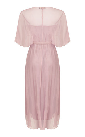 Florrie dress in old rose pure silk georgette