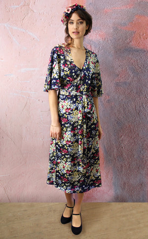 Florrie dress in navy floral print crepe
