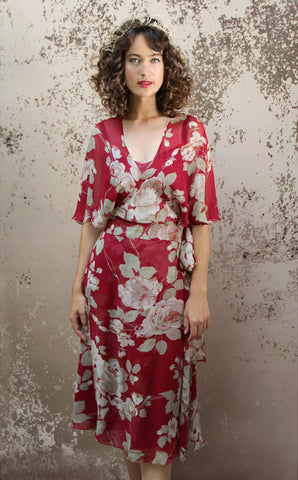 Florrie dress in red rosegarden print silk georgette - model shot