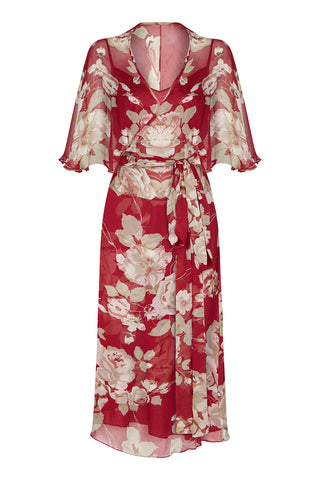 Florrie dress in red rosegarden print silk georgette - front mannequin shot