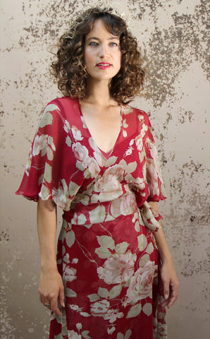 Florrie dress in red rosegarden print silk georgette - alternate model shot