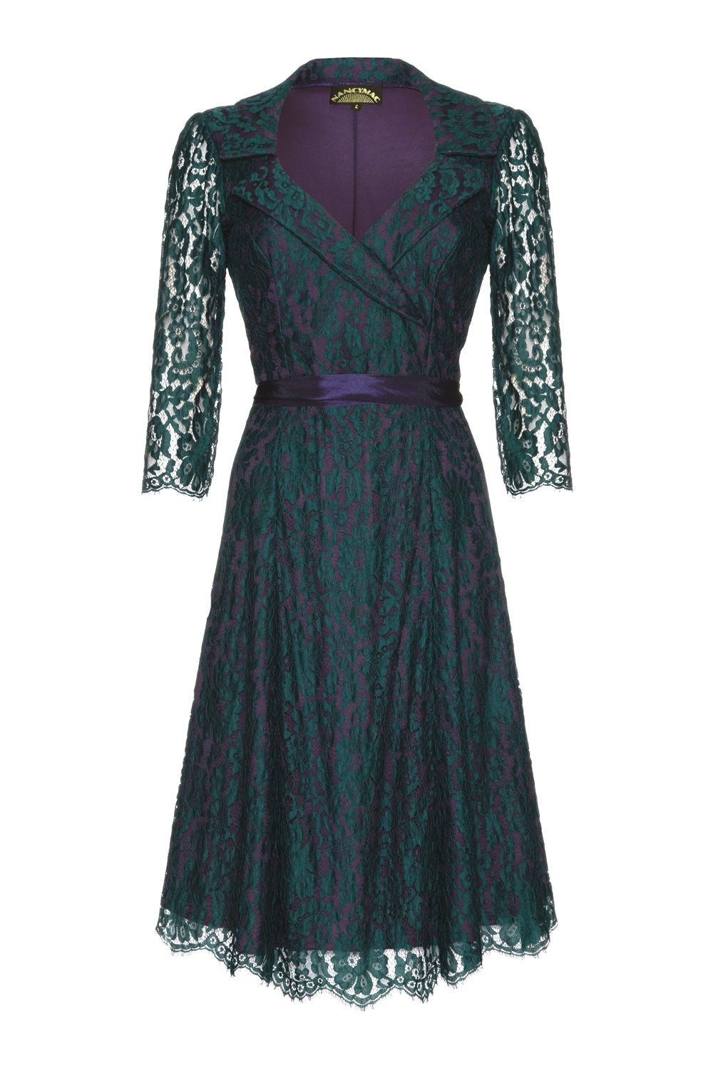 Gabrielle Dress in Emerald and Blackcurrant Lace