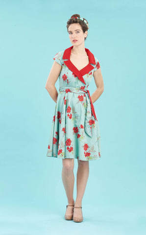 Gabrielle in Hibiscus print silk cotton - studio shot