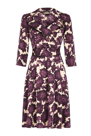 Gabrielle dress in fig flower print crepe