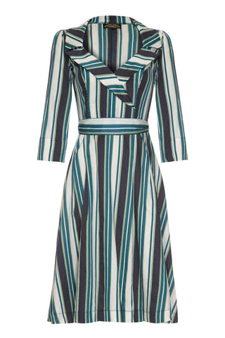 Gabrielle dress in Amalfi stripe silk cotton