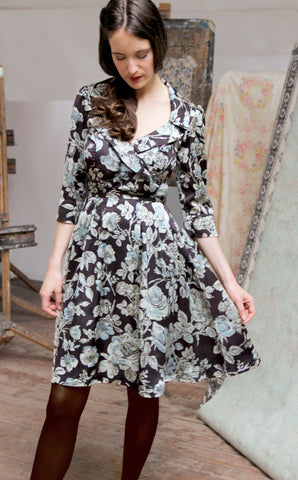 Gabrielle dress in chocolate Sketch Rose print