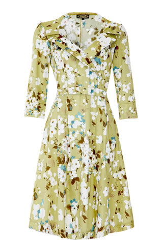 Gabrielle dress in green candy floral print silk cotton