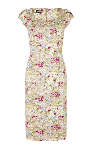 Chic Summer shift dress in romantic blush floral silk cotton.