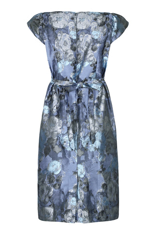 Nancy Mac's Gigi shift dress in moonlight rose brocade - mannequin back