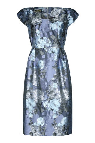 Nancy Mac's Gigi shift dress in moonlight rose brocade - mannequin
