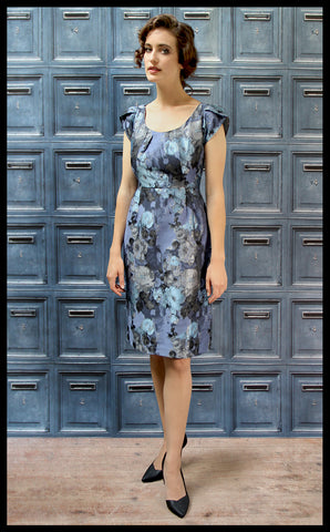 Nancy Mac's Gigi shift dress in moonlight rose brocade