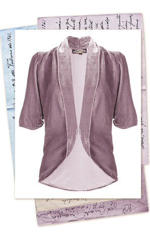 40s-style tea jacket in soft purple silk velvet with 3/4-length sleeve