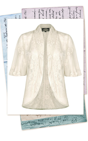 Perfect Summer coverup - Nancy Mac Madeline tea jacket in ivory lace
