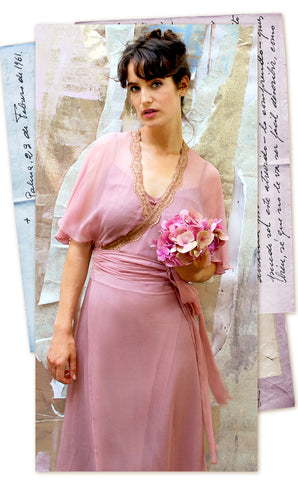 Nancy Mac Florrie - Bohemian Summer wrap dress in old rose colour pure silk georgette