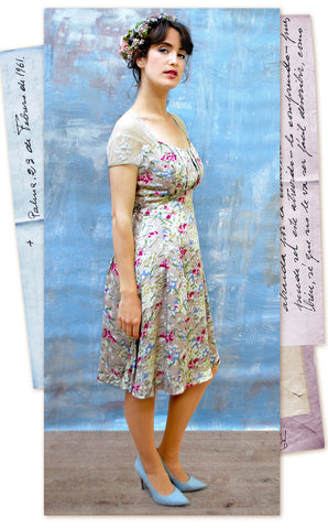 Summer day dress in delicate blush floral silk cotton with ivory lace