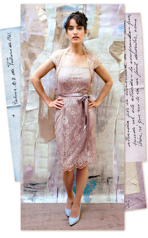 Nancy Mac's Olivia Summer occasion dress in platinum and tea rose lace