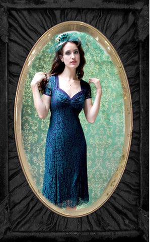 Katrina Dress in Emerald and Blackcurrant Lace