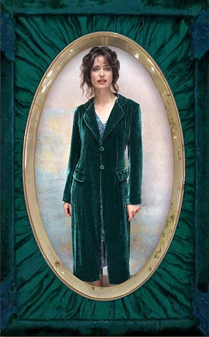 Vivienne coat in peacock silk velvet
