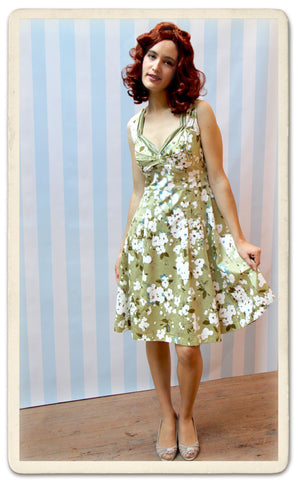Bardot dress in green Candy Floral silk cotton - model shot full length