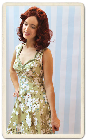 Bardot dress in green Candy Floral silk cotton - model shot cropped