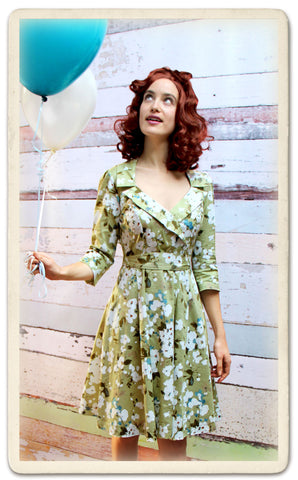 Gabrielle dress in green Candy floral - model shot