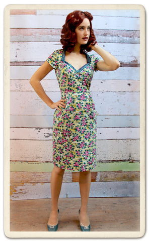Kelly dress in Rosetti print silk cotton - model shot