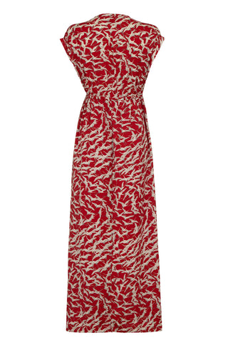 Ida maxi dress in ruby stork crepe - mannequin back
