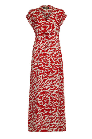 Ida maxi dress in ruby stork crepe - mannequin front