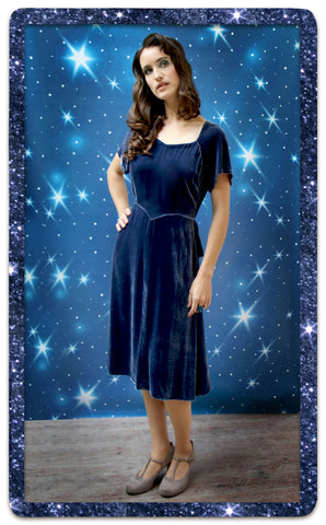 Isabella Dress in Celeste Blue Velvet