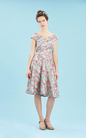 Janie dress in Parasol Garden print silk cotton