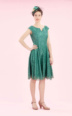 Janie dress in Shanghai green lace - studio shot