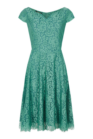 Janie dress in Shanghai green lace - mannequin front