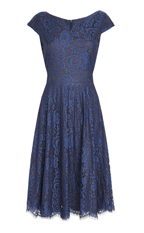 Nancy Mac's vintage style 1950s Janie dress in blue flower lace - mannequin